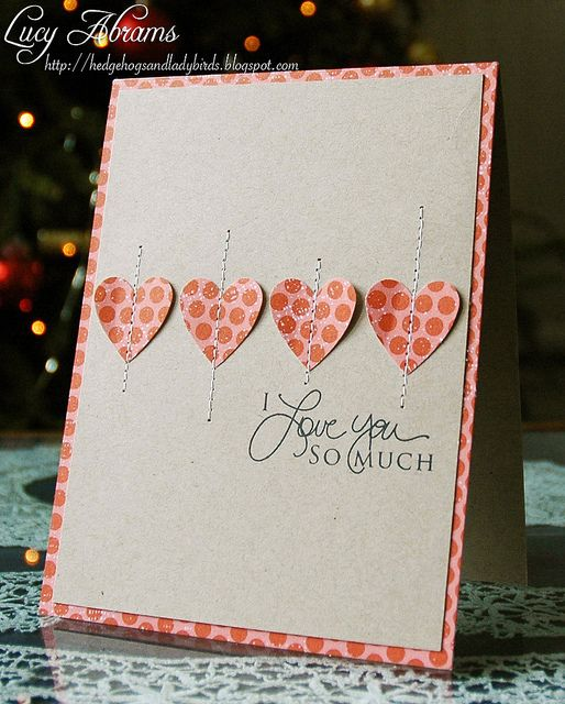 Stitched Hearts Valentines Cards Valentine Day Cards Simple Cards