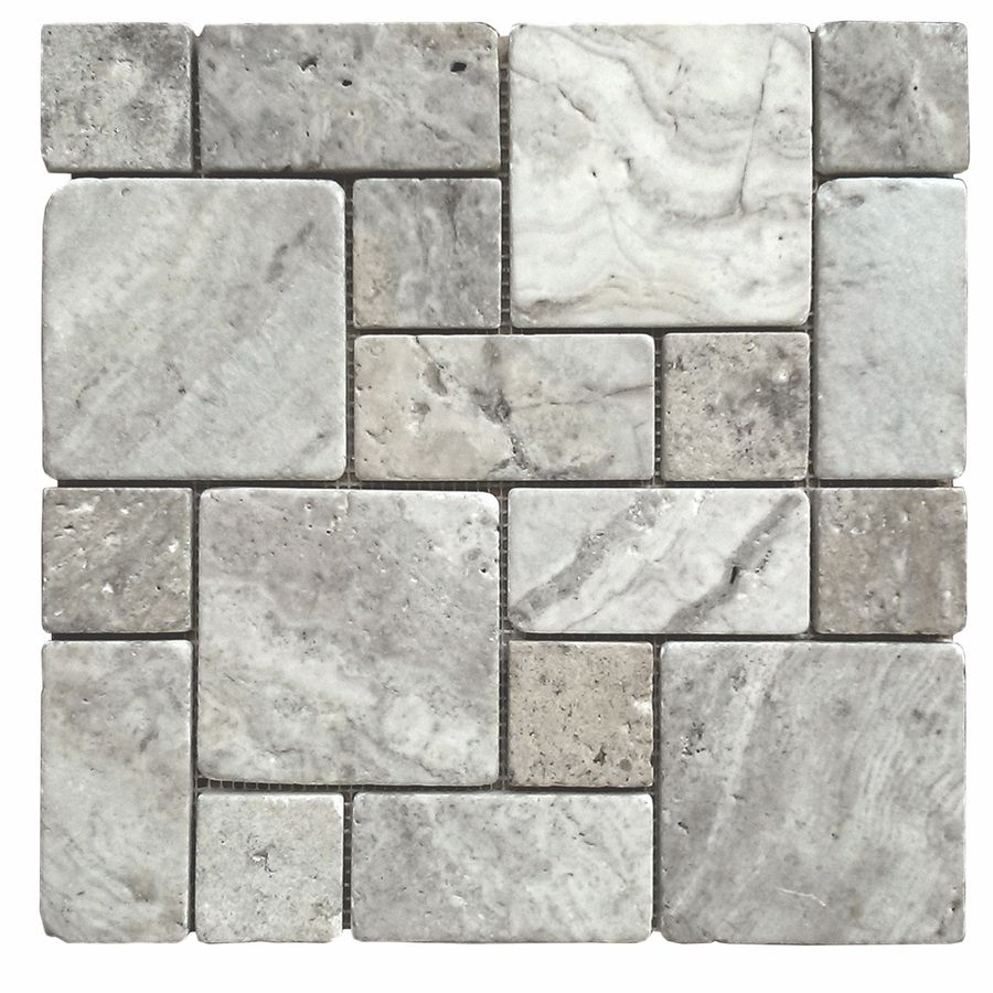 Shop Avenzo Silver Versailles Mosaic Travertine Floor And Wall Tile Common 12 In X Actual