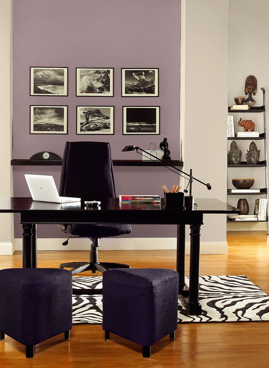 enchanting home office wall colors blue | Gray and purple home office color scheme | Home office ...