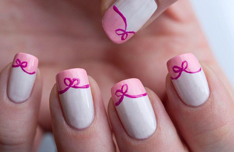 Simple Bow Nail Art Ideas For Girl