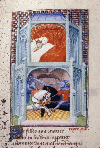 Harley 4431 fol 116v detail (King Adrastus). Paris, France 1410-1414.