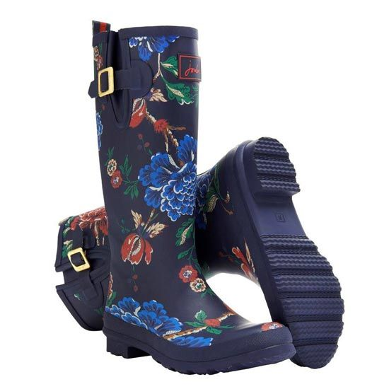 Joules Navy Floral Welly Boots