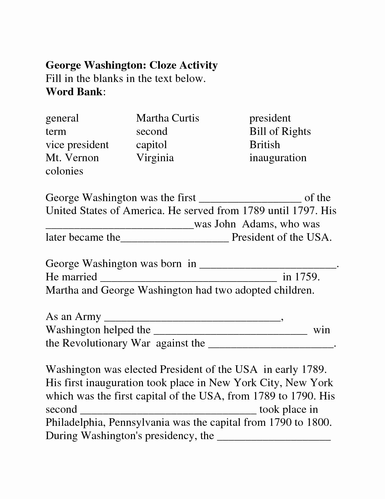 I Have Rights Worksheet Fresh I Have Rights Fill In The Blank Worksheet Answers In 2020 Cloze Activity Worksheets Word Bank