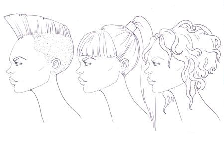 How to draw profile face -   8 hairstyles Drawing profile ideas