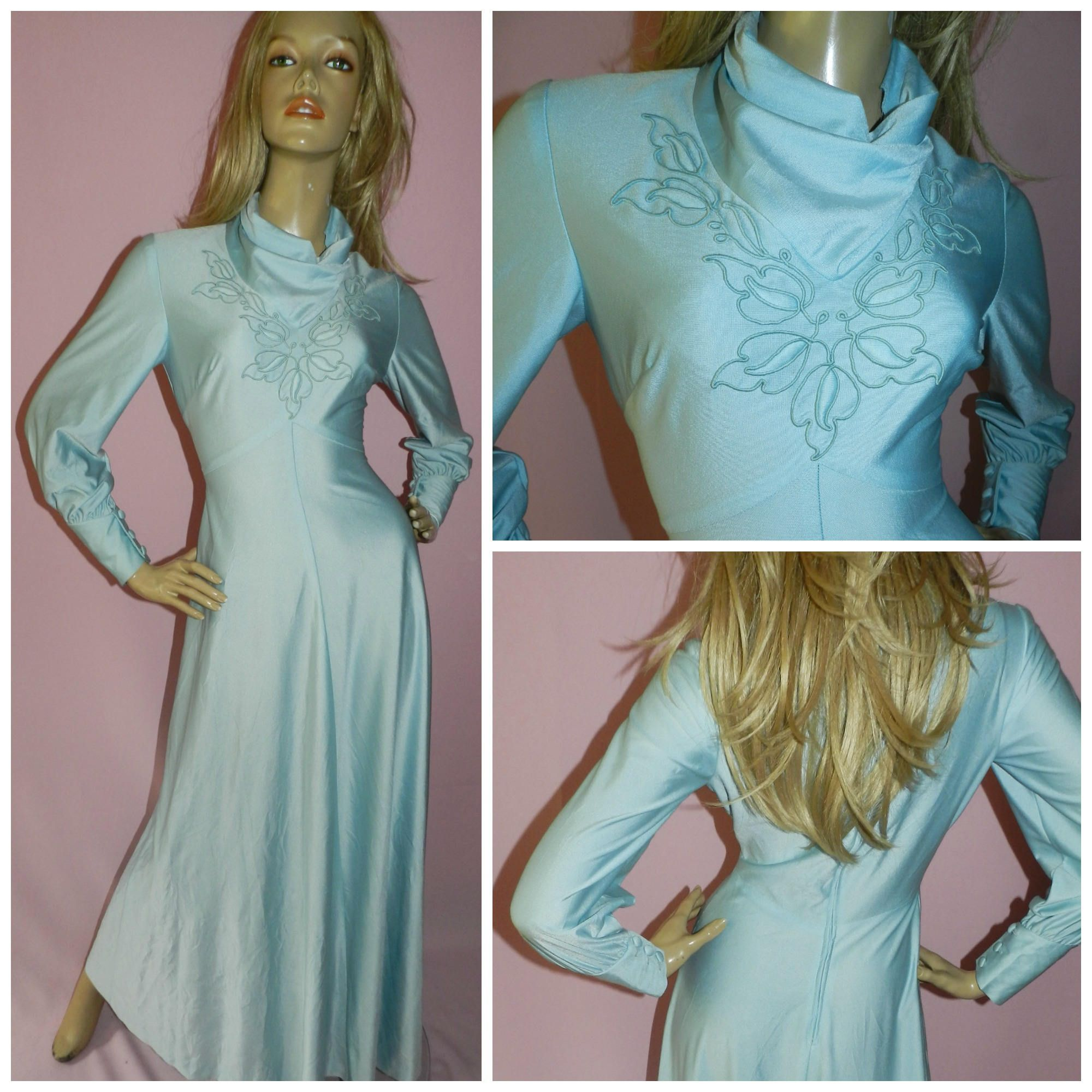 Vintage 70s BLUE EMBROIDERED Maxi GODDESS Dress 8 S 1970s