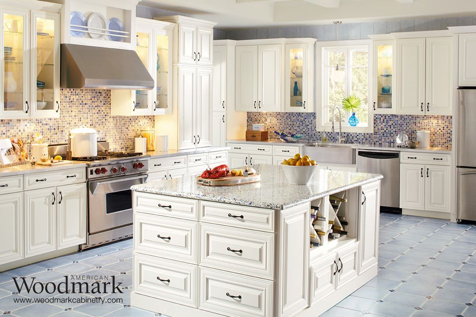 American Woodmark Cabinets Exclusively At The Home Depot Kitchen Design Kitchen Cabinet Colors Antique White Kitchen
