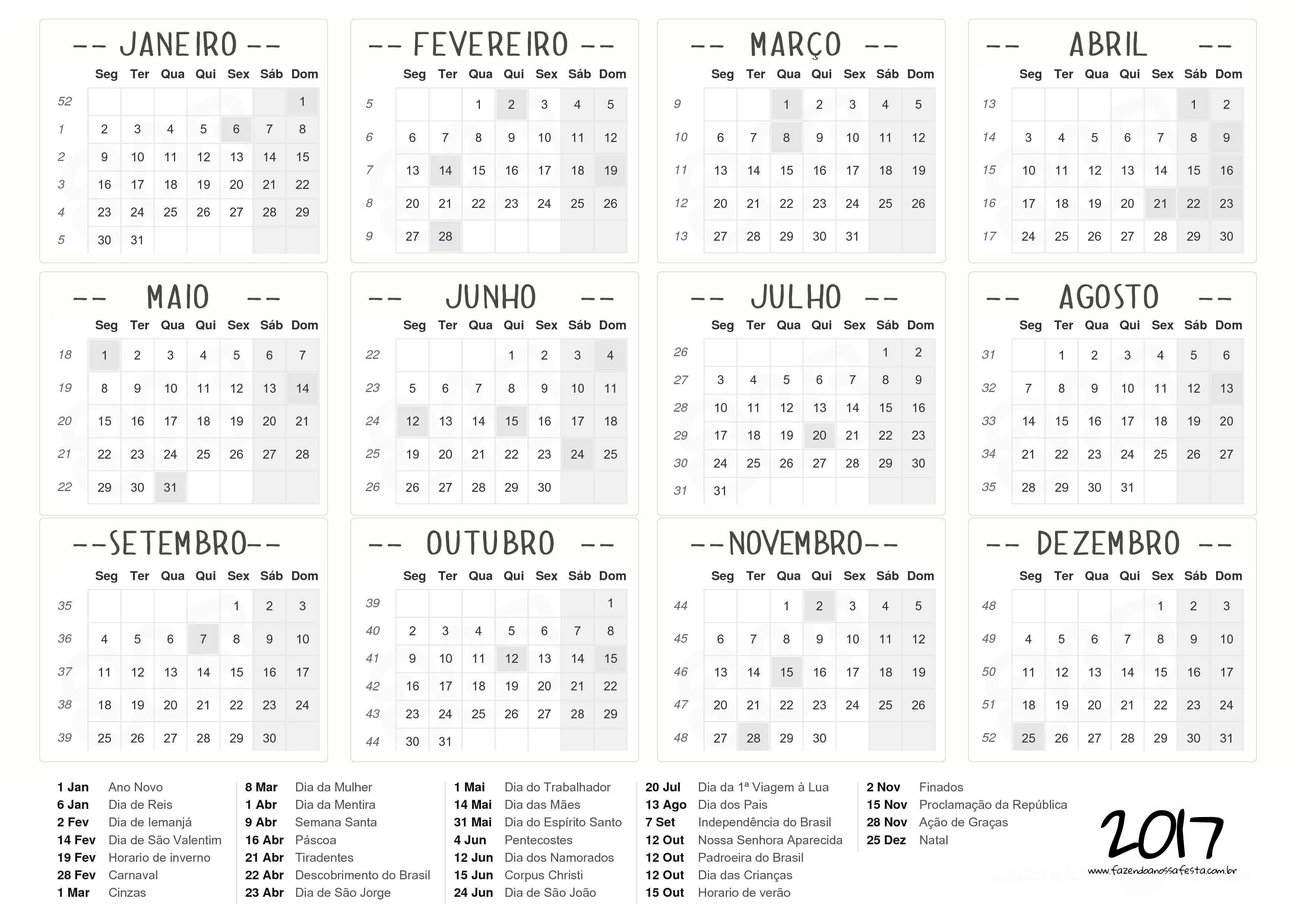 Calendario 2017 para personalizar