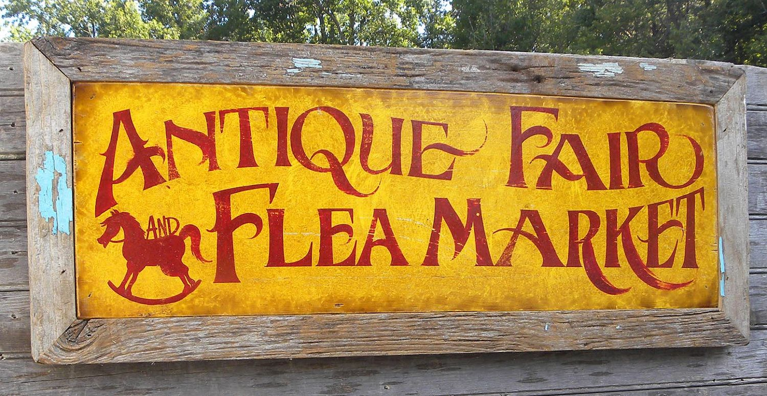Antique Fair & Flea Market Sign, wooden sign, original | Vintage ...