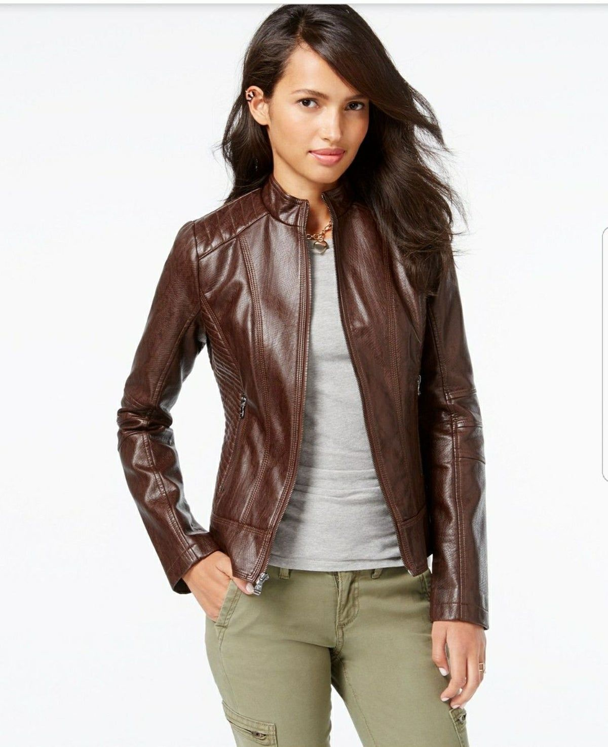Pin By Hoda Gabr On A Usa Choice Faux Leather Bomber Jacket Leather Jacket Women Brown Faux Leather Moto Jacket