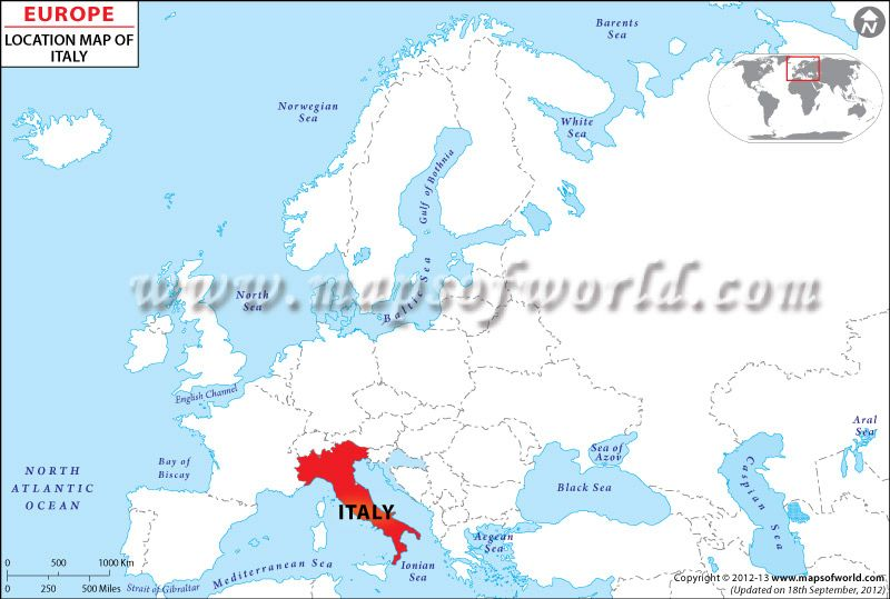 Location #Map of #Italy pointing where is present in the #EuropeMap ...