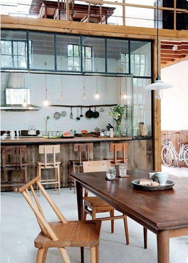 Une Cuisine Ouverte Sur La Salle à Manger Cuisine Americaine - Table salle a manger beton cire pour idees de deco de cuisine