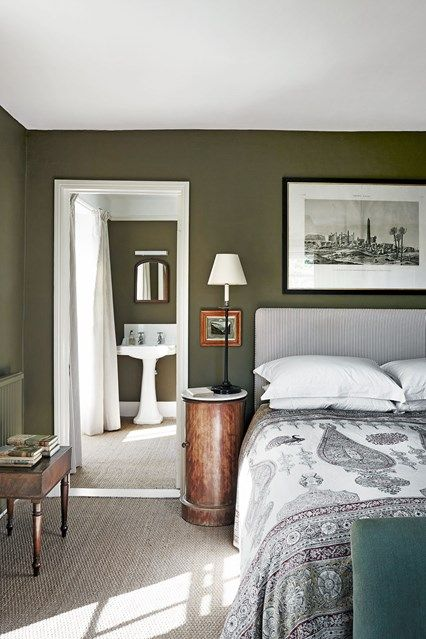 green bedroom furniture. Green Country Bedroom In Bedroom Decoration Ideas. The Main With A  View To The Bathroom. Both Have Been Painted Rich Olive Green. Green Furniture