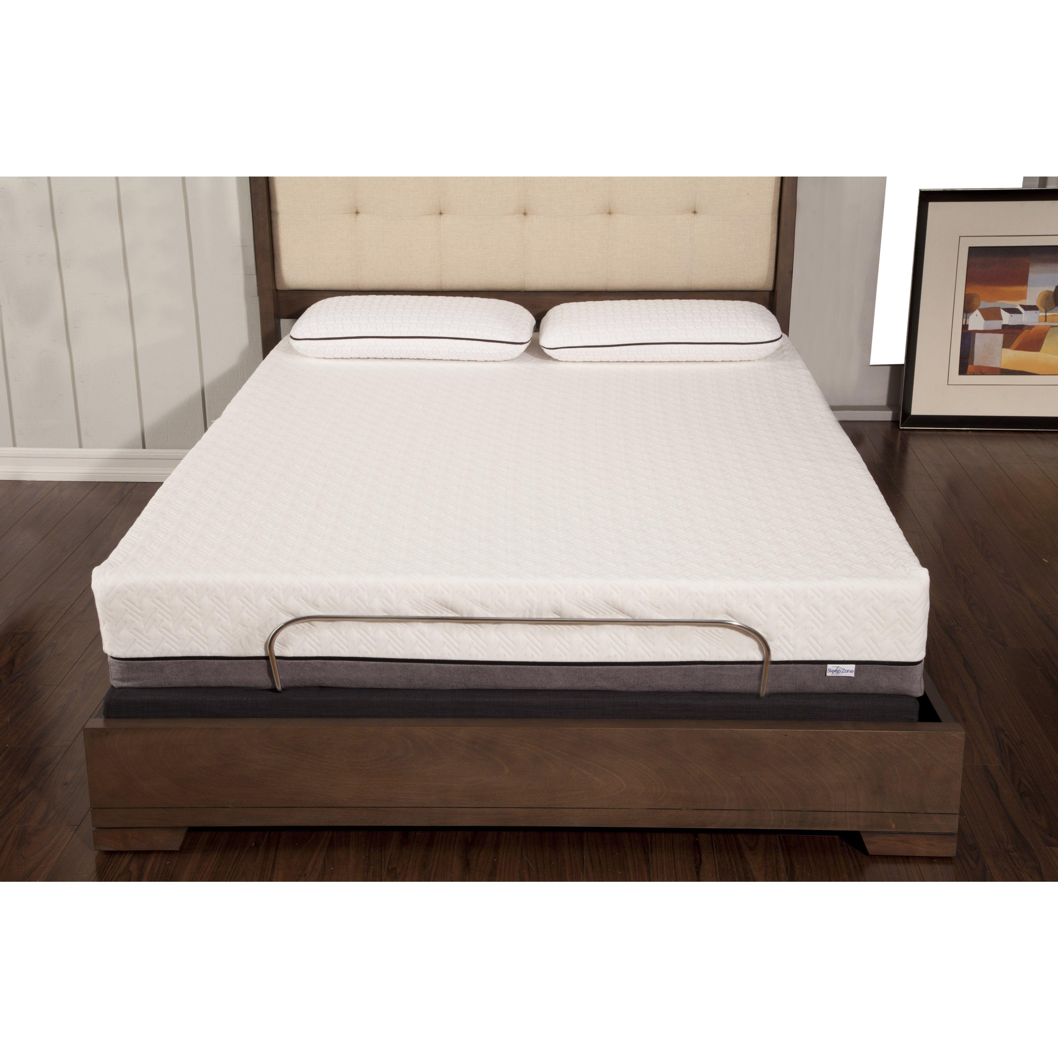 sleep zone huntington 10inch queensize memory foam mattress and adjustable bed set queen black night