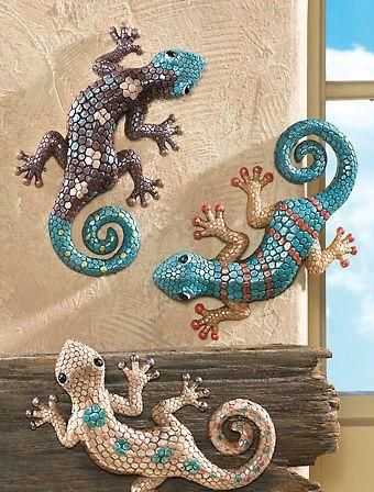 Soutwest Style Painted Furniture Set 3 Southwest Lizard Wall Art