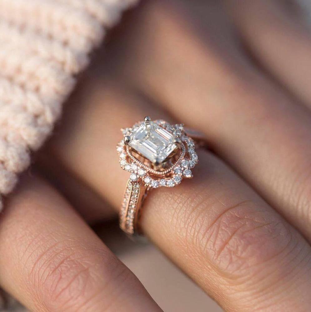 Details About 14k Rose Gold Over Emerald Cut 1 8ct Diamond Vintage