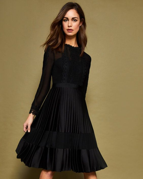 Pleated Dress Ted Trim Midi Baker Black Uk Lace Dresses qR67x4w