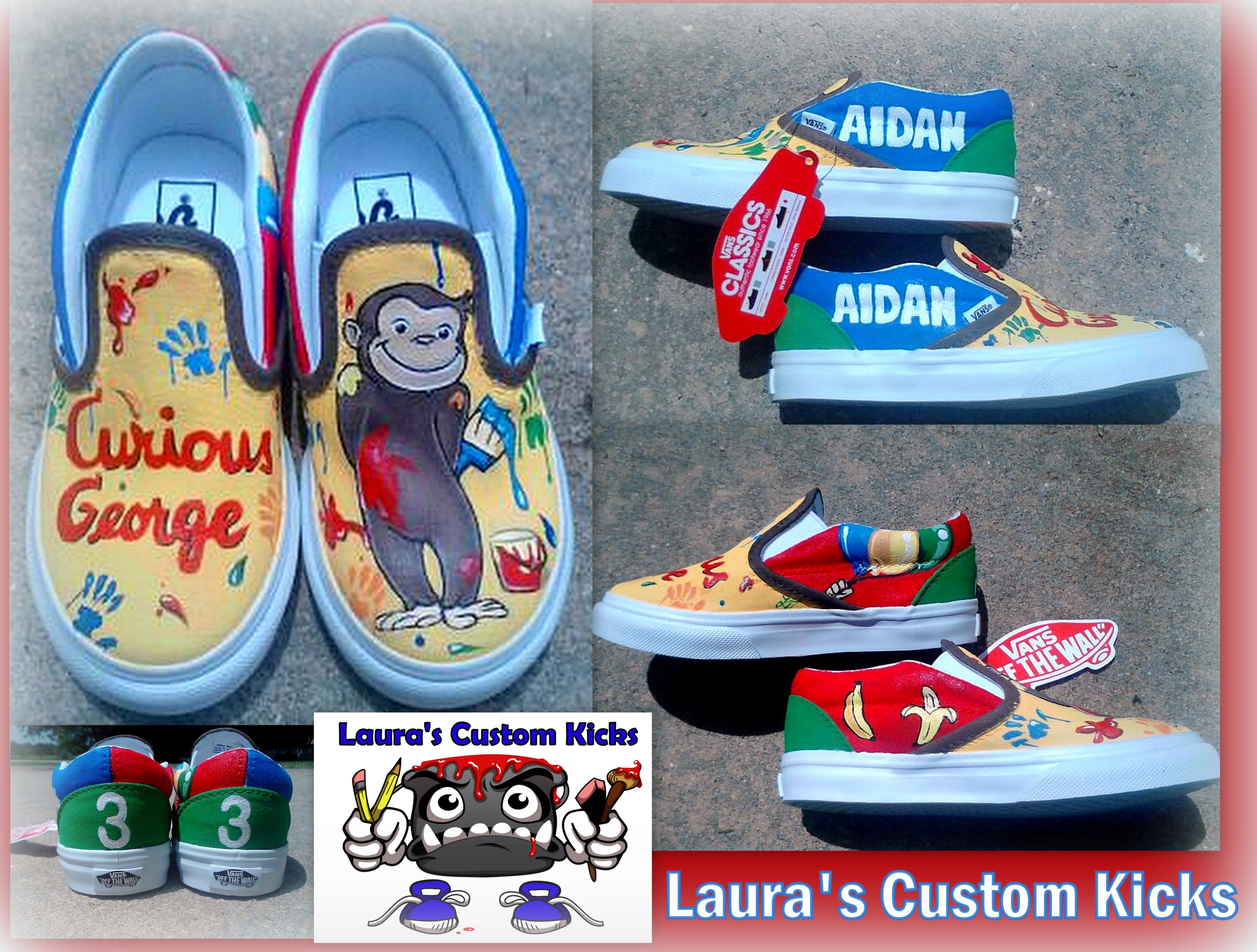 c9006f9eb6f99 Custom Curious George Vans hand painted shoes for toddler. Check out ...