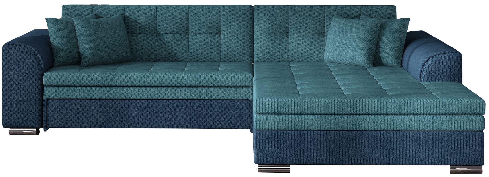 Canape D Angle Convertible 4 Places En Tissu Turquoise Et Bleu