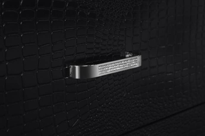 MYCO Furniture MA705-K Martina Black Diamond Tufted King Panel
