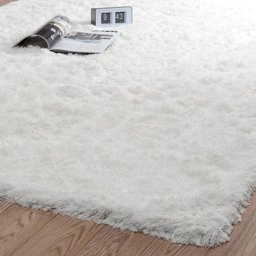 Hoogpolig ecru stoffen INUIT tapijt 160 x 230 cm