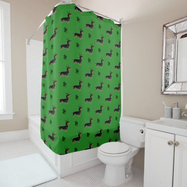 St Patrick S Day Black And Tan Dachshund Posing Shower Curtain In