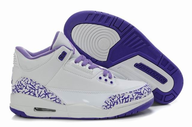 Jordans Shoe For Girls Only | ... Jordan 3 White Purple 30159-111 ...
