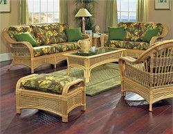 Tropical Breeze Rattan Set Of 5 The Tropical Breeze Rattan Seating Set Brings The Beauty Of T Indoor Sunroom Furniture Rattan Furniture Set Tropical Furniture
