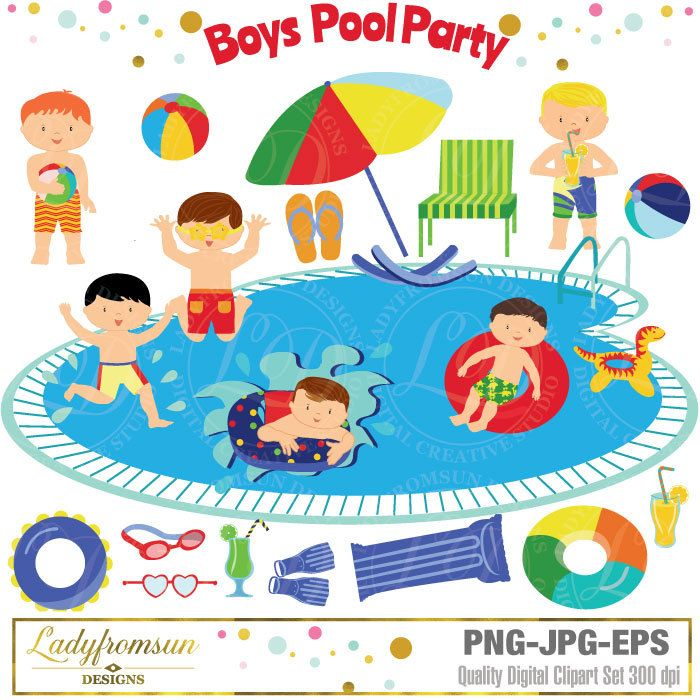Boys Pool Party Clipart Pool Party Clip Art Summer Party Etsy Party Clipart Pool Party Clip Art
