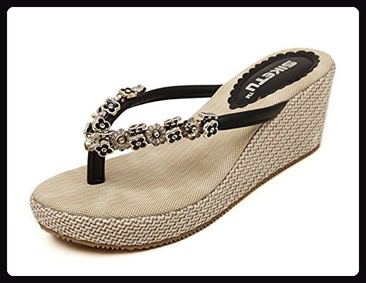 separation shoes ec2df c8f87 Aisun Damen Casual Strand Strass Metall Blume Keilabsatz ...