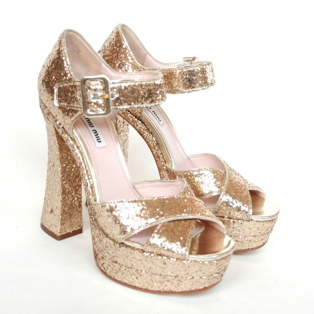 MIU MIU 730 gold glitter platform high high high heels Sandale schuhe by Prada fb9bd0
