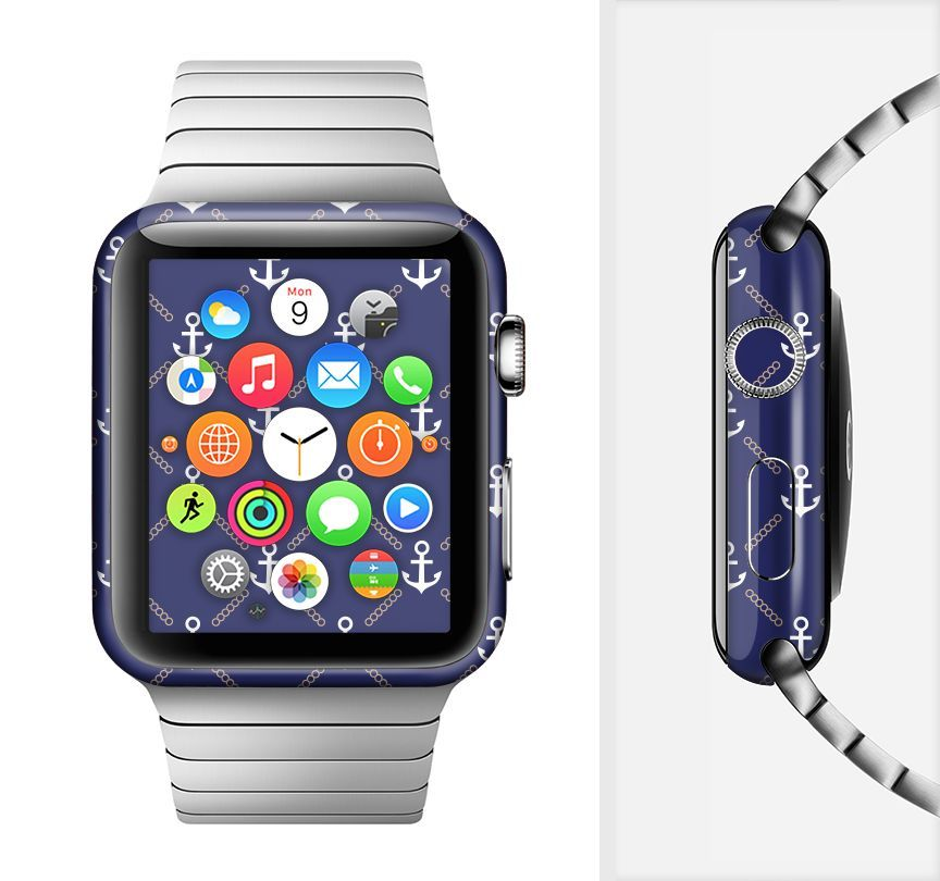 The Navy Blue & White Seamless Anchor Pattern Full-Body Skin Set for the Apple Watch