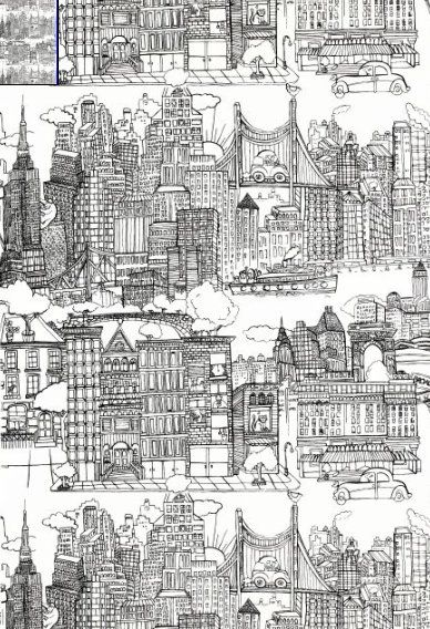 5 More Wallpapers And Fabrics From Famous New Yorker Cartoonist Saul Steinberg New York Wallpaper York Wallpaper Schumacher Wallpaper