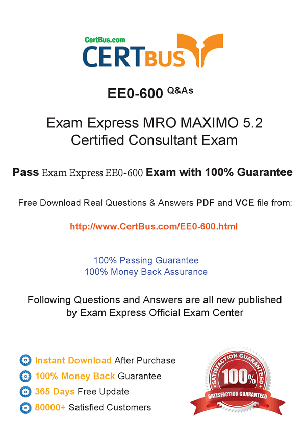 Candidate need to purchase the latest ExamExpress EE0-600 Dumps with latest ExamExpress EE0-600 Exam Questions. Here is a suggestion for you: Here you can find the latest ExamExpress EE0-600 New Questions in their ExamExpress EE0-600 PDF, ExamExpress EE0-600 VCE and ExamExpress EE0-600 braindumps. Their ExamExpress EE0-600 exam dumps are with the latest ExamExpress EE0-600 exam question. With ExamExpress EE0-600 pdf dumps, you will be successful.