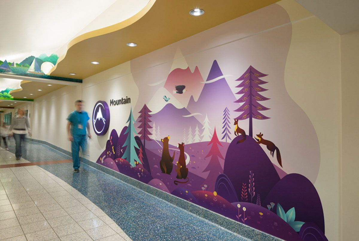 Pin By Emily Ashley Frost On Branding Wayfinding Hospital Interior Design Hospital Design Childrens Hospital