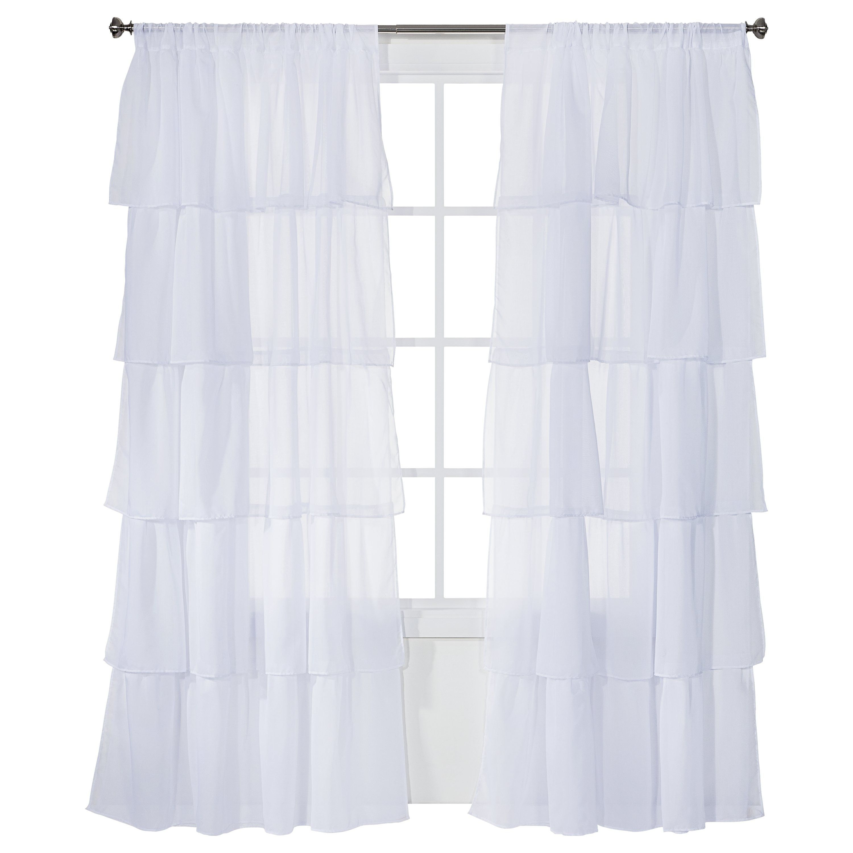 Xhilaration Ruffle Curtain Panel White 50x84 Ruffle Curtains White Paneling White Ruffle Curtains