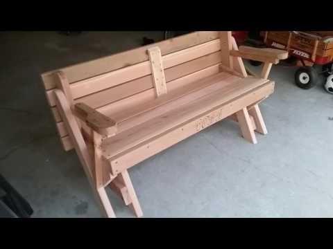Picnic Bench YoutubeBanca To Red Table Convertable Cedar MpqUzVGS