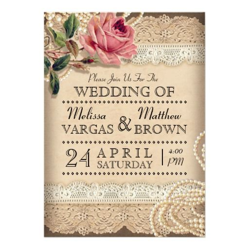 Vintage Rose Wedding Invitations 5 X 7 Invitation Card