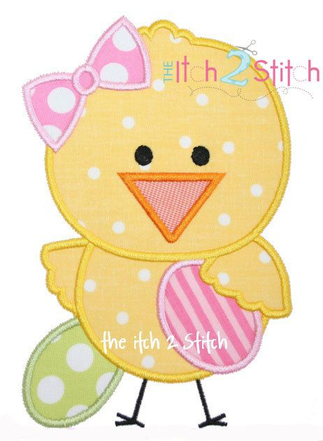 Easter Chick Girl Applique Design For Machine Embroidery INSTANT DOWNLOAD now available