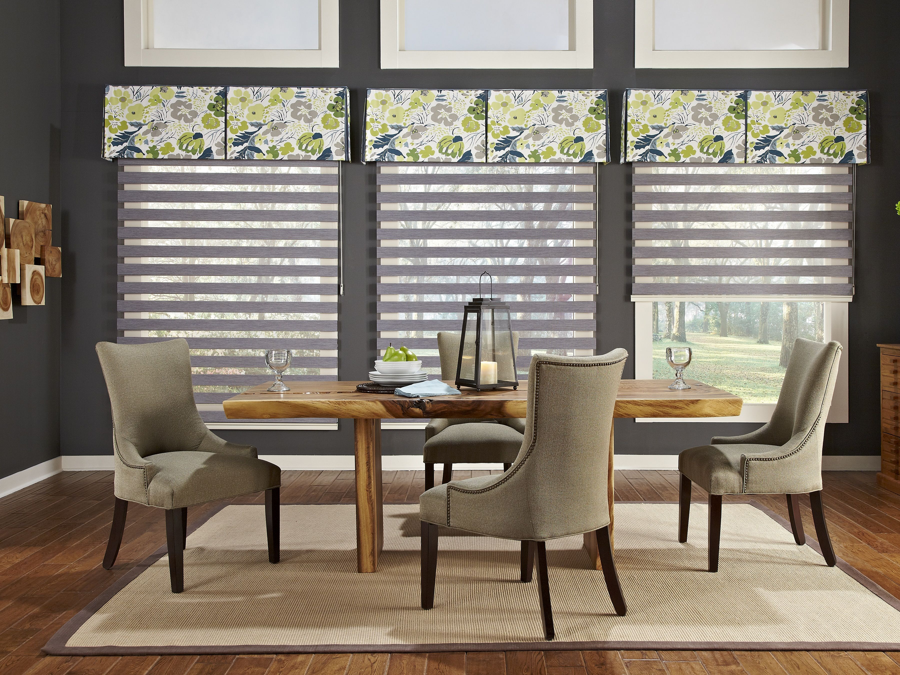 Modern Valances Wood Table And Wall Decor Window Treatments Living Room Dining Room Window Treatments Dining Room Small