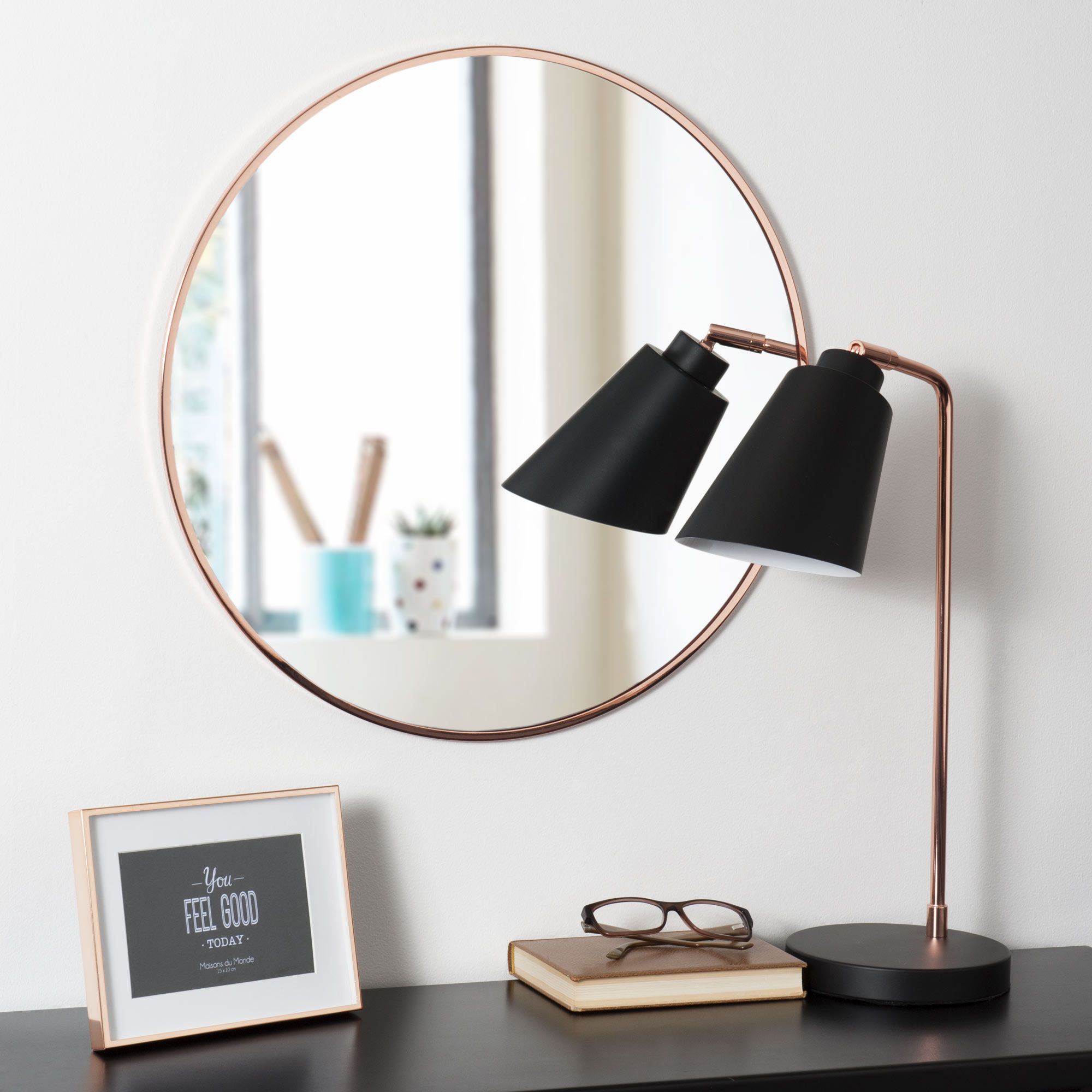 Miroir rond en m tal cuivr d 50 cm grazzia maisons du for Miroir zinc maison du monde