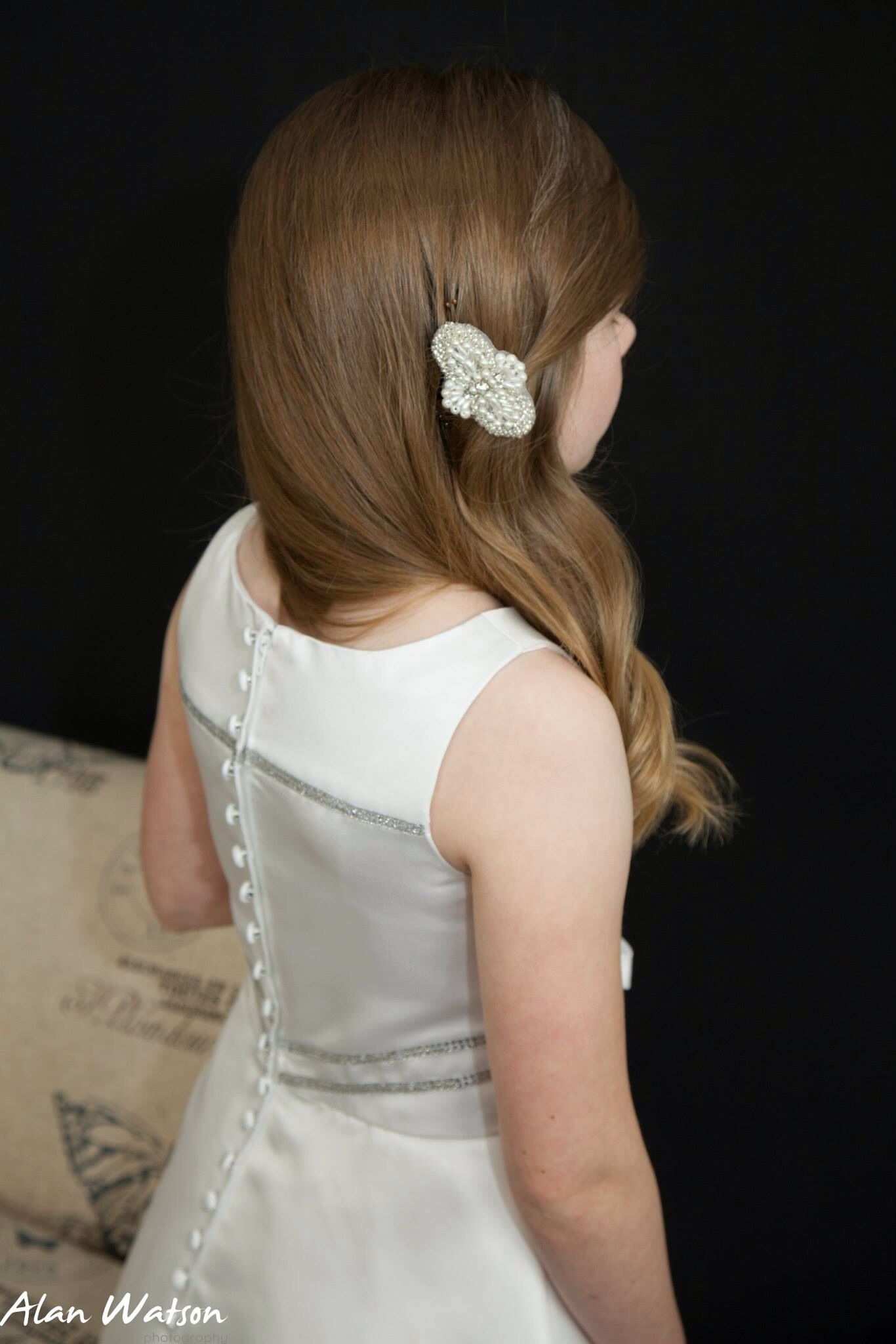 Pearl and rhinestone comb first holy communion / flower ...