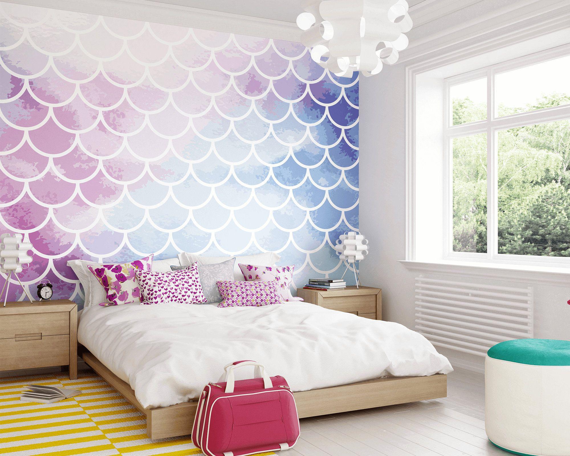 Mermaid Scale Wallpaper Mural Mermaid Girls Bedroom Wall Art