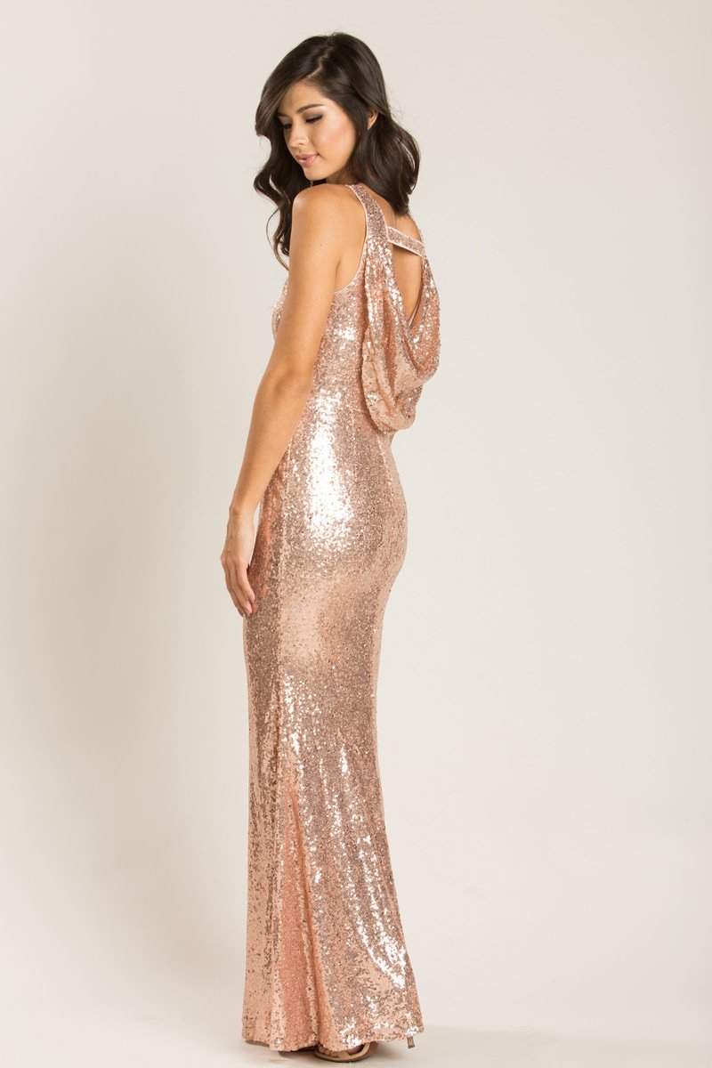 Gabrielle Rose Gold Sequin Drape Back Gown - Morning Lavender- Could ad Lace  to the back to cover- 832ecd8e312d