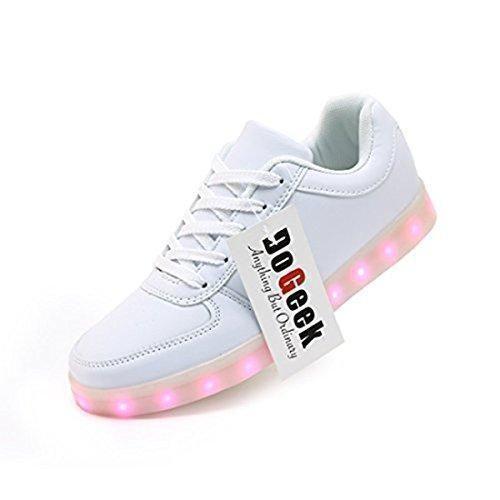 c63bc4e4c Comprar Ofertas de DoGeek Zapatos Led Niños Niñas Negras Blanco 7 Color USB  Carga LED Zapatillas Luces Luminosos Zapatillas Led Deportivos Para barato.