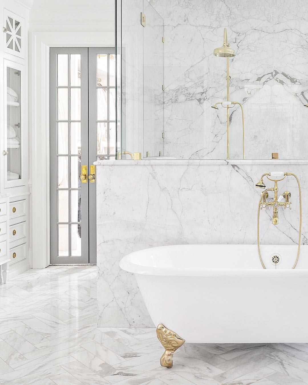 Grey And White Marble Bathroom: Marble Bathroom With White And Brass Claw-foot Tub