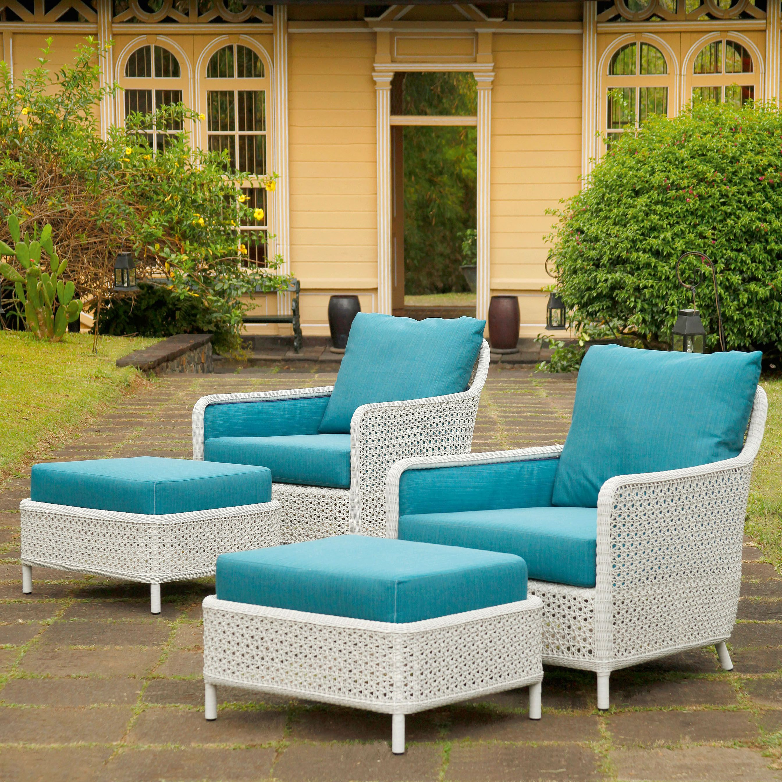 This stylish outdoor woven armchair and ottoman code from