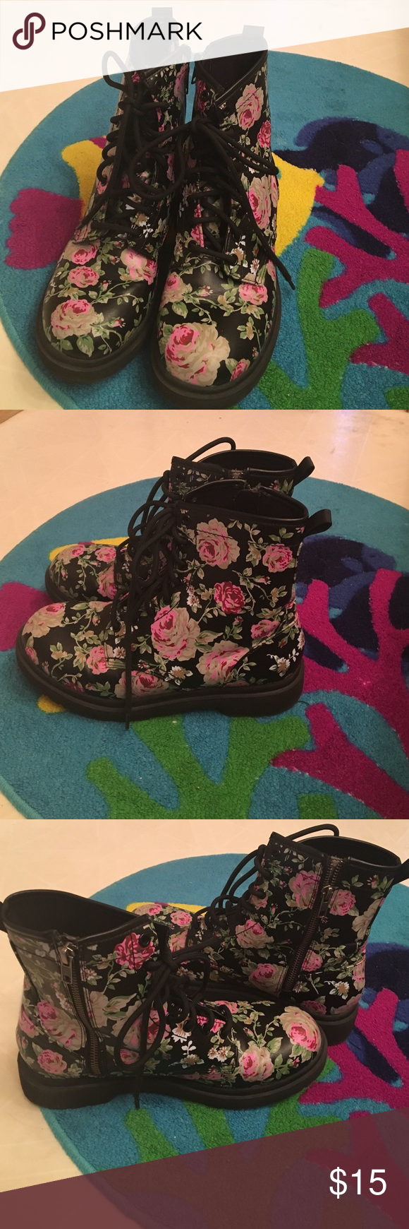 Rose Printed Lace Up Boots Doc Marten Style Black With