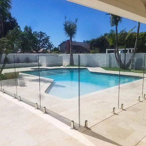 One Of Our Recent Glass Pool Fence Installations In Losangeles Our Frameless Pool Fence System Adds Security And Lu Glass Pool Fencing Glass Pool Glass Fence