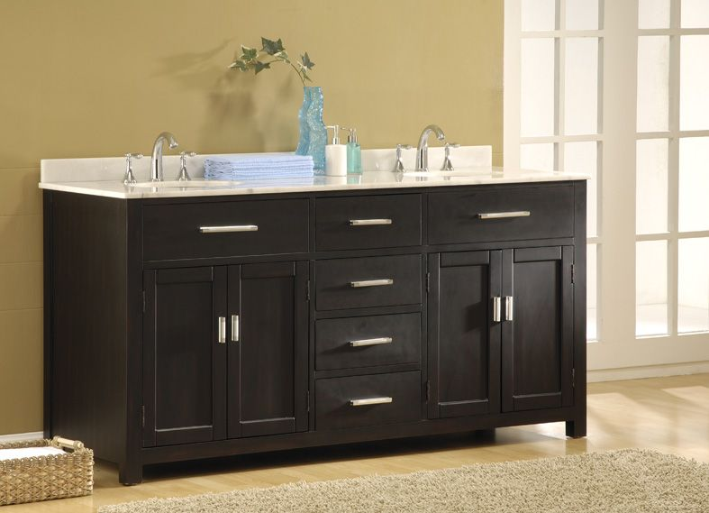 Superior Hutton 70 Inch Ebony Double Vanity Sink Cabinet, White Marble 6070D7 EW By J