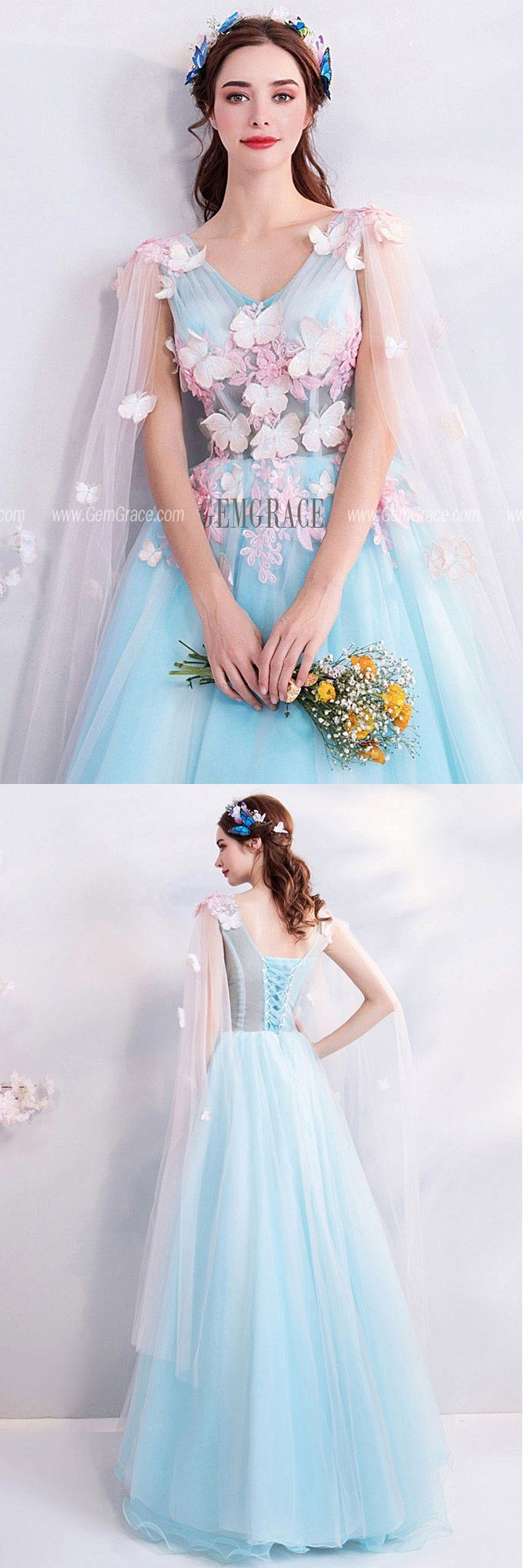 3ee57d8c69 Fairy Butterfly Blue Formal Long Prom Dress With Petals Cape  T69124 at  GemGrace.